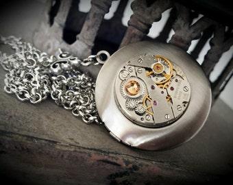 Locket in Dark Silver with Golden Swarovski - Steampunk Inspired Locket - Vintage watch