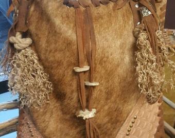 SOLD**Handcrafted LARGE Leather Messenger  Bag,***,Hand Laced Weekender Bag,-Cowhide,Vintage Hardwear ,USA