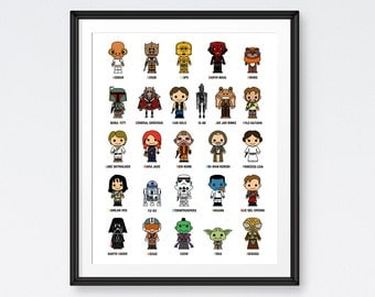 SALE Star Wars Art Printables,Starwars Alphabet , Star Wars Poster, Room Decor- Instant Download