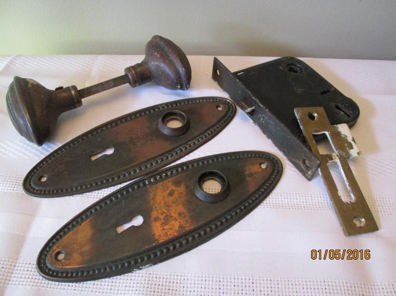 Vintage Orbin Door Knobs Door Plates Mortise Lock Set