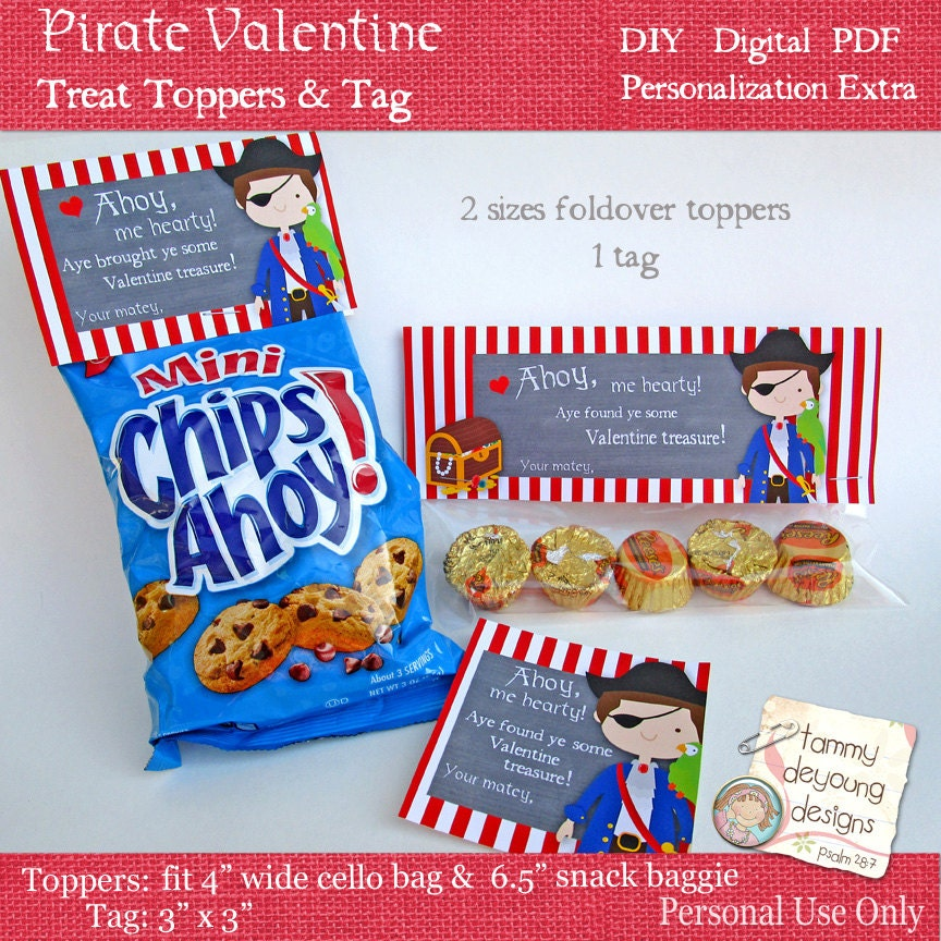 Pirate Valentine Treat Bag Toppers For Kids DIY Printable