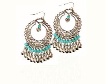 Turquoise earrings, chandelier earrings, silver earrings, dangle earring, chick earrings, chick turquoise earrings, beaded earrings