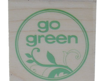 Stampabilities Go Green Environmentally Friendly Wooden Rubber Stamp