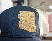 Arizona 'Sparkly State' Hat - FREE SHIPPING -Gold State Trucker Hat - Organic/ Recycled Material Hat