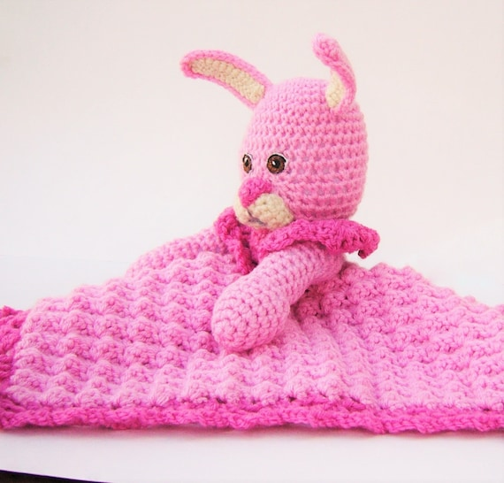 Pink Bunny Security Blanket Crocheted Huggy Lovey Baby Shower