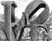 "Robert Indiana's "" LOVE"" sculpture, pen and ink, fine art print, 8X10"