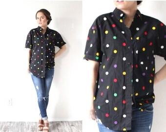 20% OFF VALENTINES SALE Vintage Boho // polka dot shirt // black polka dot blouse // retro rainbow polka dot top // collared polka dot shirt