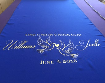 Royal  Blue Custom Made Aisle Runner 25  feet with custom vinyl lettering quote name and date