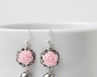 Pink and grey rose earrings, bridesmaid earrings, shabby chic, vintage style earrings, pink and grey wedding jewelry, pearl earrings