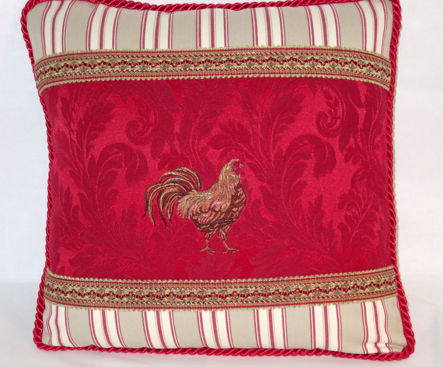 Black Rooster Throw Pillows : Red Chicken Throw Pillow Damask Rooster Brocade and Ticking