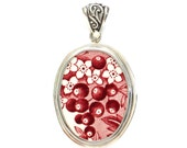 Broken China Jewelry Romantic England Red Transferware Berries and Flowers Sterling Oval Pendant