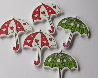 Umbrella with Hearts, Green Wood Buttons Lot of 5