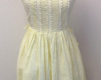 ON SALE Vintage NOS 50s Yellow Lace Summer Dress With Tags 1950s Bust 36 Union Tag Size M Medium 26 Waist