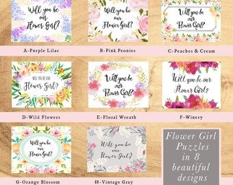 PUZZLE: Will You Be our Flower Girl, bridal party proposal, card, invitation, unique proposal, watercolor flowers, pink yellow b