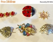 MOVING SALE Half Off Destash  Craft Lot of Vintage Salvaged  Creepy Crawly Bug Figural Jewelry Pieces