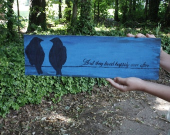 They Lived Happily Ever After Birds on a Wire Rustic sign