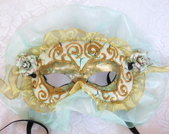Teal and Gold Rose Masquerade Mask