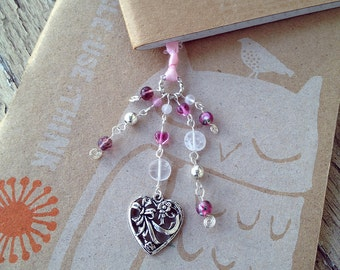 Pink Valentine Heart Bookmark Beaded Ribbon Book Thong Valentines Day Mothers Love Cupid