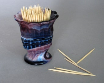 Slag Glass, Slag Glass Purple, Glass Toothpick Holder, End of the Day Glass, Imperial Glass