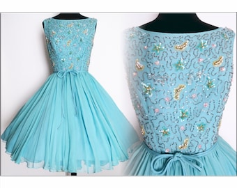 Vintage 1950s Dress//50 Dress//Lilli Diamond//Original//New Look//Rockabilly//Femme Fatale//Party dress//Mod//Aqua
