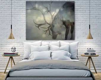 """Christmas canvas of reindeer, Christmas photography, reindeer photo on canvas, """"If On A Winter's Night"""""""