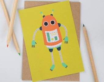 Robot Postcard, Yellow and Orange Robot Illustration, Childrens Robot Postcard, Boys Mini Art Print, Orange and Grey Robot Mini Print