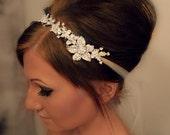 ON SALE Bridal Headband, Bridal Head Piece, SHAY, Rhinestone Headband, Wedding Headband, Tulle Bridal Hair Piece, Bridal Headpiece, Rhinesto