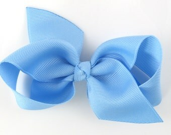 NEW STYLE - Loopy Pinwheel Hair Bow - Light Blue Hairbow 3.5 Inch Solid Color Boutique Bow for Baby Toddler Girls 1.5 Inch Wide Ribbon