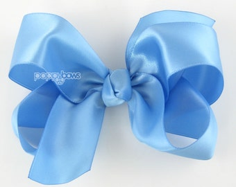 "Girls Hair Bow - 4 Inch Satin Hair Bow - Sky Blue hair bow - toddler hair bow - baby girls hairbow - big hair bow 4"" hair bows boutique bow"