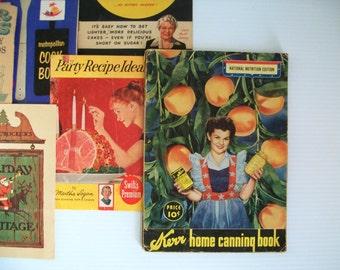 7 Vintage Cookbooks . vintage culinary book . vintage cook books . vintage recipe books . cooking ephemera . vintage ads on cooking