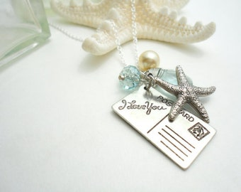 I Love You Necklace Vintage Starfish I Love You Card Sterling Silver Necklace I Love You Jewelry Pendant Charm Necklace Gift for Her