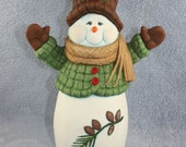 Old Fashion Ceramic Snowman hand painted with a Pinecone & Pine Branch