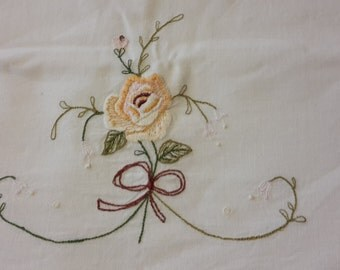 Vintage embroidered cotton pillow case