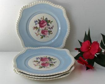 4 Vintage Johnson Brothers Windsor Ware floral plates - JB21 -light blue - pink roses - cottage decor - plate wall decor - vintage flowers