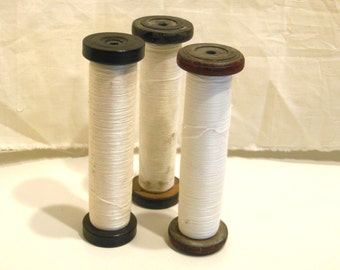 wood spool, mill thread, textile bobbin, industrial sewing, vintage mill find, LARGE SIZE, set of 3