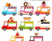 Food Trucks Clipart Set - clip art set of trucks, hotdog, pizza, ice cream, food vans - personal use, small commercial use, instant download