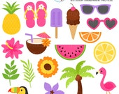 Tropical Fun Clipart Set - flamingo clip art, pineapple, coconut, summer, palm tree - personal use, small commercial use, instant download