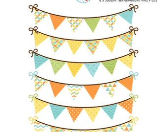 Bunting Clipart Set - orange, green, blue - patterned bunting clip art set, party - personal use, small commercial use, instant download