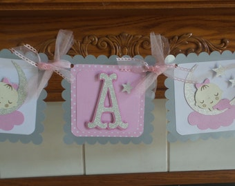 Love you to the Moon and Back baby banner, Twinkle Twinkle Little Star baby shower banner, pink gray silver baby banner, It's A girl banner