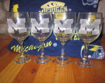 Set of 4 University of Michigan Wine Glasses - Block M