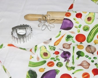 Garden Vegetables Child Apron - white