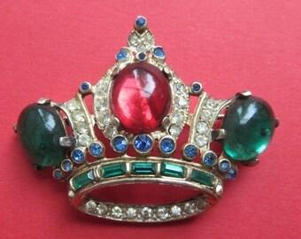 On Sale Antique CoroCraft Sterling Silver Rhinestone Crown Brooch Pin Book Piece 1944