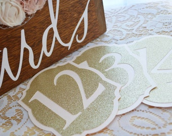 Elegant Pale Blush and Glitter Gold Table Numbers for Wedding - Table Number Cards - Table Number Signs - Table Numbers Wedding -