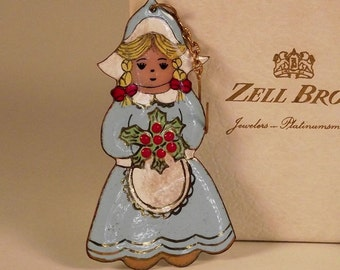"""Miller Enamel Dutch Girl in Blue Dress with Blond Pigtails and Holly Bouquet Ornament 3"""" in Vintage Zell Bros Box Adorable"""
