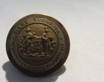 Late 1800's Era US Indian Wars West Virginia State Seal  Brass Coat Button Albert's WV 2 MB 3