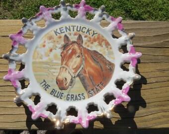 Vintage 50s 60s Kentucky Horse The Blue Grass State Plate - souvenir plate - wall art -