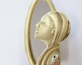 Vintage Brooch AJC Art Deco Lady in Mirror Gold Plated Tone Metal *RARE* Retro Woman Statement