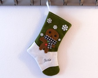 Gingerbread Cookie Personalized  Christmas Stocking by Allenbrite Studio