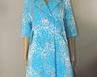 Stunning 1960s RETRO MIDCENTURY COAT/ Jacket Vintage  Blue/Turquoise Sz Large by Algo Originals