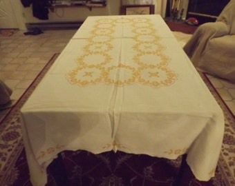 """97"""" Huge cotton or linen tablecloth.Big family. Banquet, wedding. Yellow mustard hand embroidery on white background. Gift"""